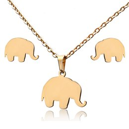 elephant jewelry sets NZ - Cute Cat Elephant Gold Color Stainless Steel Sets Cute Animal Necklace Earrings Jewelry Set Wedding Jewelry