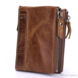 $enCountryForm.capitalKeyWord Australia - New foreign trade hot products Leather double zipper wallet Men's leather bag Fashion first layer cowhide Short wallet Retro coin clutc
