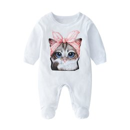 cat collar cute Australia - Newborn 100% Cotton Romper Infant Toddler Cute Cat Printing Spring and Autumn Long Sleeve Kids Jumpsuit Baby Boy Girl Clothes