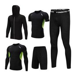 Short Sleeve Suit jacketS men online shopping - 5Pcs Tracksuit Men s Set Sports Running Fitness Sets Hooded Jackets Pants T shirt Shorts Long Sleeve Shirts Sport Suits
