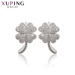 $enCountryForm.capitalKeyWord Australia - Xuping Fashion Temperament Rhodium Color Plated Hoops Lucky Clover Earrings Exquisite Birthday Day Jewelry Gifts S201.1-91832