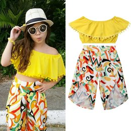 $enCountryForm.capitalKeyWord Australia - Summer Children Clothing Casual Toddler Baby Girl Ruffles Solid Yellow Tassel Crop Tops T-Shirt+Slit Floral Printed Pants Outfit