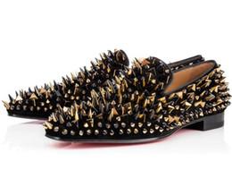 Red Men Wedding Shoe Australia - New Designer Black Glitter Spikes Studded Red Bottom Loafers Shoes Men Wedding Party Gentlemen Dress Oxford Shoes Flats Loafers Sneakers C65