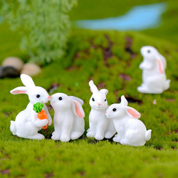 Discount japanese cartoon dolls 8 Styles Easter Bunny White Rabbit Doll Ornament Gift Miniature Cartoon Animal Fairy Garden Decoration Moss Micro Landscape Accessory