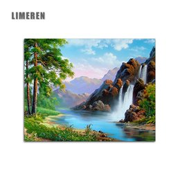 6357689ea Waterfall paintings online shopping - Spring Natural Scene Waterfall DIY  Handpainted Pictures On Canvas Painting By