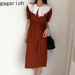 Gagarich Dress Women Korean Style Vintage Double-Layer Ruffled Collar Contrasting Color Strap Slim Midi Short-Slave Dress