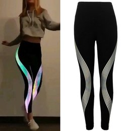 $enCountryForm.capitalKeyWord NZ - ISHOWTIENDA Women Black Laser Stripe Women's Dance Neon Rainbow Leggings Fitness Sports Gym Running Yoga Athletic Pants #4