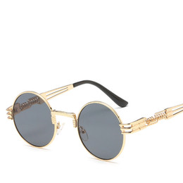 Round Mirror Wholesale Australia - Round Sunglasses Men Women Metal Punk Vintage Sunglasses Retro Designer Fashion Glasses Mirror Lens High Quality Gafas de sol UV400