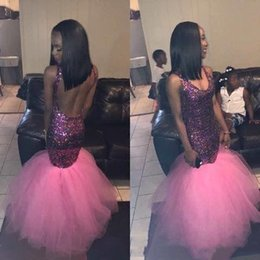 $enCountryForm.capitalKeyWord Australia - Sexy African Black Girls Mermaid Prom Dresses Sexy Open Back New 2019 Top Glitter Sequins Cheap Spaghetti Straps Long Tulle Evening Gowns
