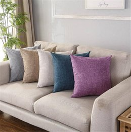 Color Office Chairs Australia - 2019 Pillow Covers Cushions Cover Solid Color Linen Fashion Office Sofa Chair Home Textiles Pillowcase Without Pillow Core 15 pcs