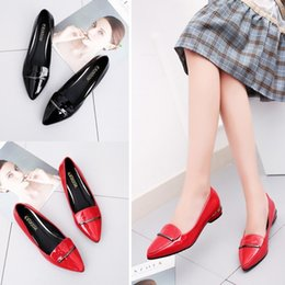 $enCountryForm.capitalKeyWord Australia - Free2019 Flat Mouth Shallow Bottom Single Women's Red Small Shoes Patent Leather Level With Black Sharp Work Shoe Ladle A