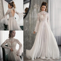 high neck lace bodice dress Canada - 2020 Elegant High Neck Wedding Dresses A Line Long Sleeves Lace Up Sheer Neck Plus Size Bridal Gowns Robe De Mariée