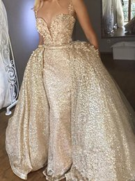 Wholesale Gold Spaghetti Straps Sequin Mermaid Long Evening Gowns Lace Applique Over Skirts Sweep Train Formal Party Prom Dresses