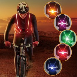 reflective vest led UK - Bicycle Ride Reflective Vest Light LED Fiber Glowing Safe Travel Color Glow Vest Sports Bike Cycling Elastic Band RD0018