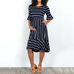 Wholesale womens dresses flare for sale – plus size Womens Breastfeeding Dresses Summer Striped Elegant Flare Casual Nursing Dress Maternity Pregnancy Clothes Zwanger Jurk mar28