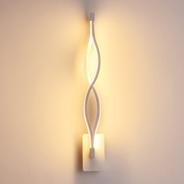 Chinese  Modern black white wavy wall lamp 16W Wall Lamp Fixture AC220V Acrylic Wall Mounted Bathroom Lighting Bedside lamp manufacturers