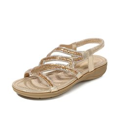 Gold Low Heeled Sandals NZ - Ladies Fashion Low Heel One-word Sandals Wearable Lightweight Casual Shoes