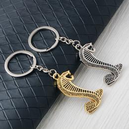 Discount cobra rings - Snake Shape Keychain Metal Cobra Keyring Auto Car Styling Snake Key Chain Fit Fashion Key Ring Jewelry GGA2433
