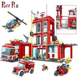 Toys & Hobbies Stacking Blocks Fire Rescue Station Ladder Truck Helicopter Boat Construction Building Bricks Blocks Fit Legoed Kids Kits Diy Toys Children Gift 2019 New Fashion Style Online