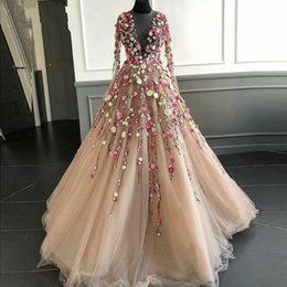 3704ac7481 Fairy 3D Floral Flowers Prom Dresses Long Sheer Neckline Handmade Flowers  Tulle Long Sleeves Chic Evening Dress Tulle Princess Party Gown