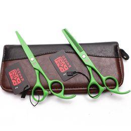 Hair scissors brands online shopping - 6 quot cm JP C Kasho Brand Green Color Haircut Set Cutting Scissors Thinning Shears Hairdressing Shears Professional Hair Scissors H1023