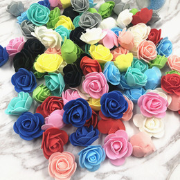 $enCountryForm.capitalKeyWord Australia - 20pcs 3cm Artificial Flower Mini PE Paper Rose Heads Handmade Wedding Decoration DIY Wreath Gift Scrapbooking Craft Fake Flowers