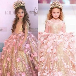 Kids girls long evening gowns online shopping - Amazing Blush D Floral Flowers Girl Pageant Dresses Long Sleeves Gold Sequined Fabric Kids Toddlers Prom Evening Party Flower Girls Dress