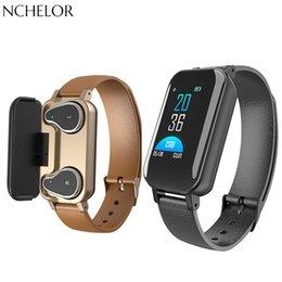 $enCountryForm.capitalKeyWord Australia - Smart watch Dual Bluetooth Headphone Fitness Bracelet Heart Rate Monitor Smart Wristband Fitness Tracker Sport Watches Men Women