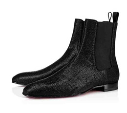 Leopard wedding heeLs online shopping - Gentleman Wedding Boots Red Bottom Designer Men s Shoes Roadie Orlato Flat Middle Shoes Casual Super Perfect Ankle Boot For Men Leopard