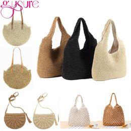 Handmade Zipper Bag Australia - Gusure Fashionable Women's Summer Handbag Handmade Casual Woven Bags Ladies Shoulder Bag Beach Straw Travel Bags Purse