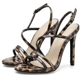 b8846230c70 Women Sandals 2019 Summer New Fashion Shoes Slingback High Heels Open Toe  Narrow Band Dress Sandals Leopard Party Shoes Women