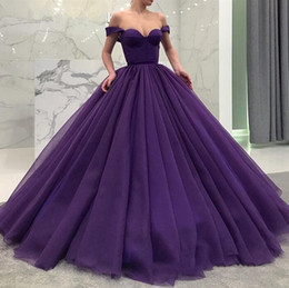 Sheath Sweetheart lace evening dreSS online shopping - Purple Ball Gown Off The Shoulder Long Prom Dresses Formal Evening Gowns Womens Party Celebrity Dress