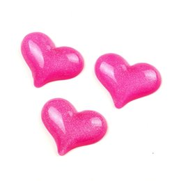 wholesale cabochon frame UK - 20Pcs Fuchsia Resin Heart Decoration Crafts Beads Frame Flatback Cabochon Scrapbook DIY Kawaii Embellishments Accessories Other Decorative S
