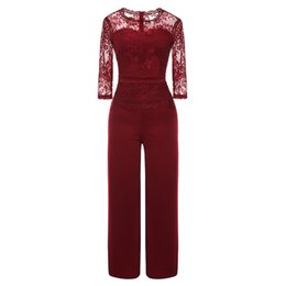 $enCountryForm.capitalKeyWord NZ - FREE OSTRICH Stylish and comfortable women's sexy round neck cropped sleeve party and evening casual lace transparent jumpsuit