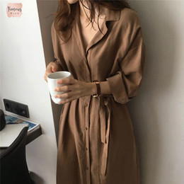 Wholesale blue hooded dress women online – ideas Ladies Women Dresses Casual Shirt Solid Dress Summer Autumn Long Sleeve Sashed Single Breasted Solid Designer Clothes
