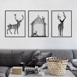 $enCountryForm.capitalKeyWord Australia - Nordic Vintage Black White Deer Head Animals Silhouette Big Art Print Poster Wall Picture Canvas Painting No Framed Home Decor