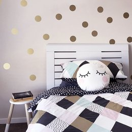 Wholesale Gold Polka Dots Kids Room Baby Room Wall Stickers Children Home Decor Nursery Wall Decals Wall Stickers For Kids Room Wallpaper