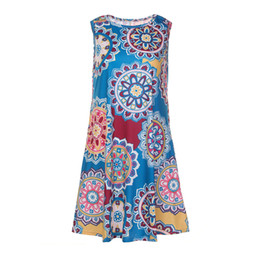 wholesale boho fashion UK - Crew Neck Floral Dress Boho Short Dresses Sexy Sleeveless Pullover Swing Vintage Pattern 20 Printed Colors Big Size Women Fashion Dresses