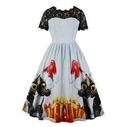 5838b7b8e5324 S-2XL women Xmas fashion dress plus size Christmas party wear lace design  short sleeve cartoon print a line dress a4