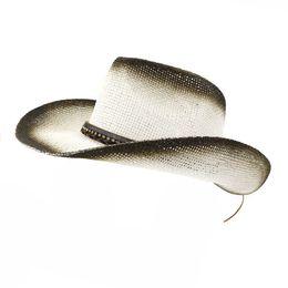 Paper Straws Hats NZ - Summer Outdoor Men Women Paper Straw Sunshade Cap Beach Hat Black Spray Paint Breathable Unisex Panama Style Cowboy Hats