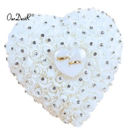 hanging decoration hearts UK - Favors Hang Pillow Transprent Box Heart Design With Rhinestone And Pearl Decor Wedding Ring Cushion Decoration Q190606