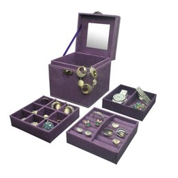 3 Layers Vintage-style Women's Earrings Rings Jewelry Box Useful Makeup Organizer Travel Portable Velvet Jewelry Boxes Gift Box