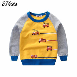 T shirT Trucks online shopping - 27kids year Vehicle Fire Fighting Truck Baby Boys Sweater Autumn Spring New Tractors Kids T Shirts Excavator Children Clothes J190529