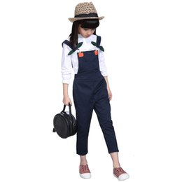 girls winter shirts for kids NZ - kids winter clothes age for 4- 12 big girl autumn white t-shirt+overalls pants 2pcs sets back to school outfit children clothingMX190916