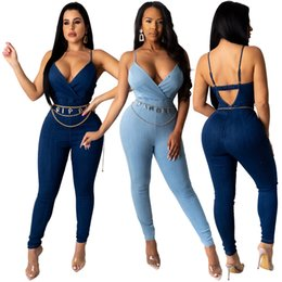 Discount deep v neck jumpsuit backless romper Adogirl Women Jeans Jumpsuit Sexy Deep V Neck Sleeveless Spaghetti Straps Backless Denim Romper Summer Casual Overalls