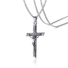 $enCountryForm.capitalKeyWord Australia - Convex sculpture Jesus piece necklace mens cross necklace for men fake pendant Hip Hop Jewelry Mens Cross Jewelry Stainless Steel Pendant