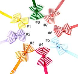 Costumes suppliers online shopping - lastest Pet puppy Cat Dog color striped bow tie necklace collar bowknot necktie grooming for pet supplier decoration Costume