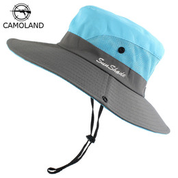 waterproof sun hats Australia - Waterproof Bucket Hat Summer Men Women Sun Hat Fishing Boonie UV Protection Wide Brim Bob Hiking Outdoor Ponytail Panama