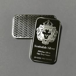 $enCountryForm.capitalKeyWord Australia - 100 pcs Non magnetic Scottsdale lion head bar brass core silver plated bullion 1 OZ ingot 50 mm x 28 mm home decoration collectible coin