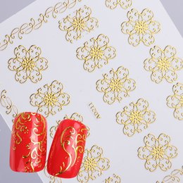 yellow flowering vines NZ - 1pcs Gold Metal 3D Dazzling Nail Sticker Blossom Flower Full Vine Adhesive Decals Manicure DIY Nail Art Slide Tips TRAD201-212